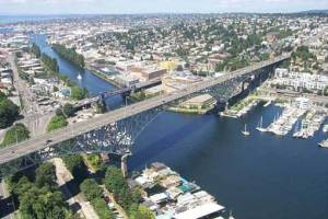 Arial shot of Aurora Bridge by WSDOT